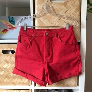 Vintage Red Denim Cutoff Shorts
